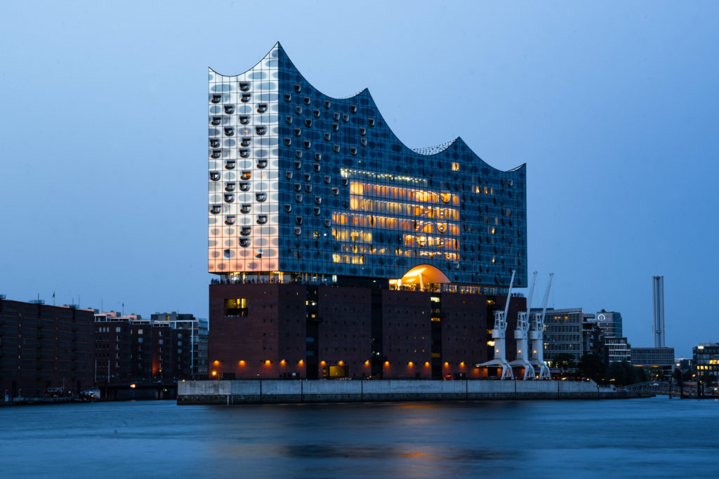 Architektur, Architekturfotografie, Hamburg, elbphilharmonie, sonnenuntergang